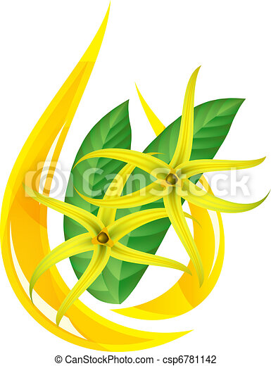 Essential oil of ylang-ylang. Stylized drop. - csp6781142