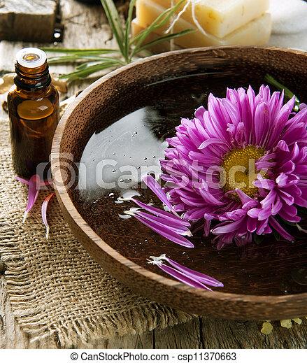essentie, oil., aromatherapy., behandeling, spa - csp11370663