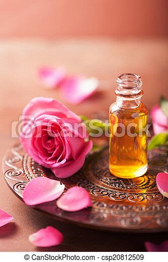 essentieel, aromatherapy, oil., spa, bloem, roos - csp20812509