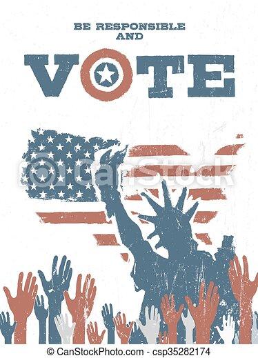 essere, stati uniti, elections., vendemmia, responsabile, map., vote!, incoraggiare, manifesto, patriottico, votazione - csp35282174