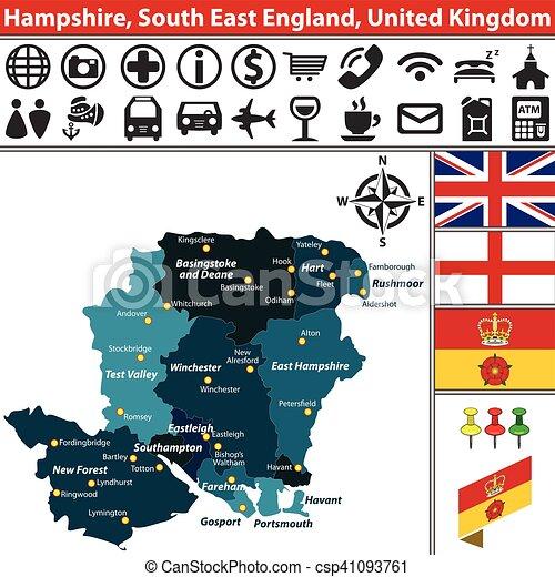 Carte Hampshire Angleterre.Est Hampshire Angleterre Sud Royaume Uni