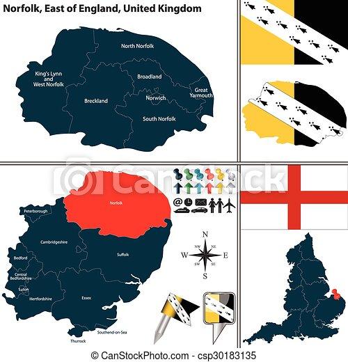 Carte Norfolk Angleterre.Est Norfolk Royaume Uni Angleterre