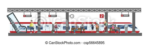 estação de comboios, illustration. - csp56645895