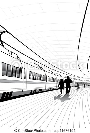 estação de comboios, pessoas - csp41676194