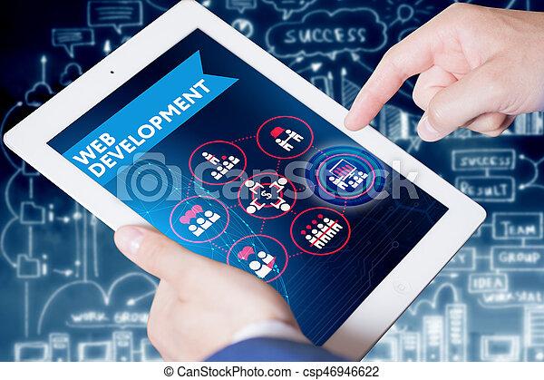 Negocios, tecnología, Internet y el concepto de red. Autobús joven - csp46946622