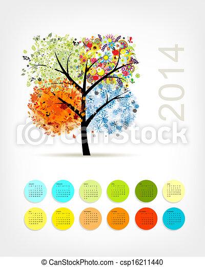 Calendario 2014 con cuatro estaciones de árbol para tu diseño - csp16211440