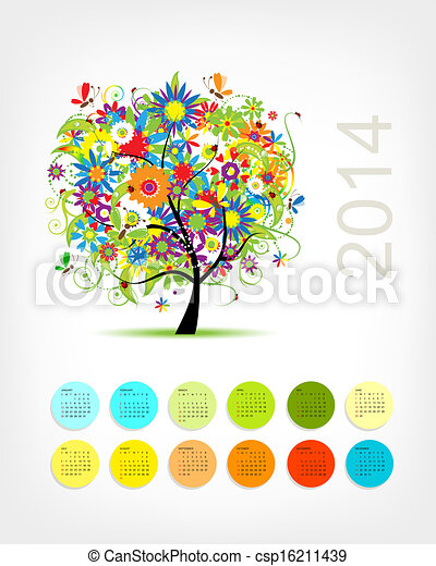 Calendario 2014 con cuatro estaciones de árbol para tu diseño - csp16211439