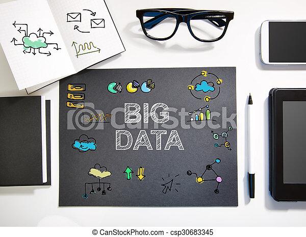 estación de trabajo, concepto, grande, negro, blanco, datos - csp30683345