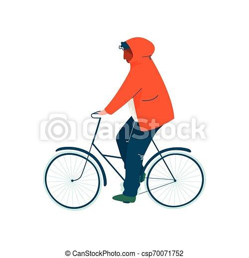 Tres hombres vestidos de blanco en una bicicleta en
