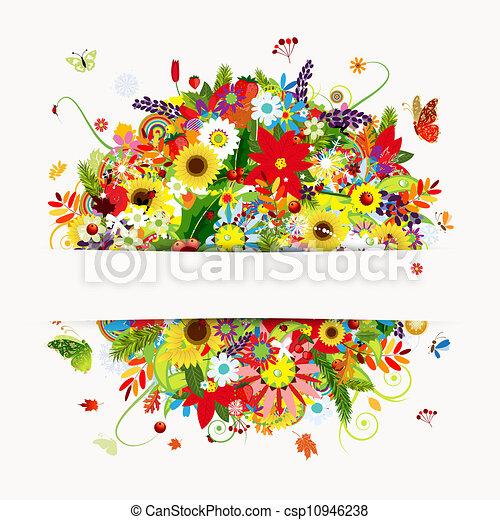 Diseño de tarjetas con ramo floral, cuatro estaciones - csp10946238