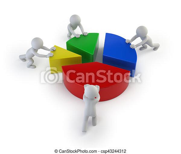 3D personas pequeñas - estadísticas de trabajo en equipo - csp43244312