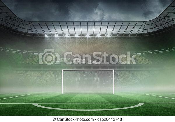 Vasto estadio de fútbol con gol - csp20442748