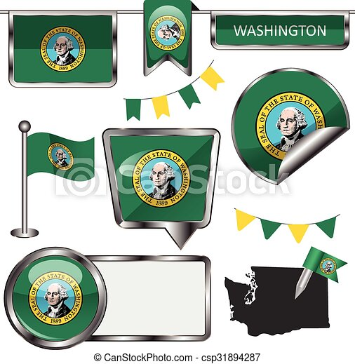 Estado, bandera de washington, brillante, iconos. Iconos, estado de ...