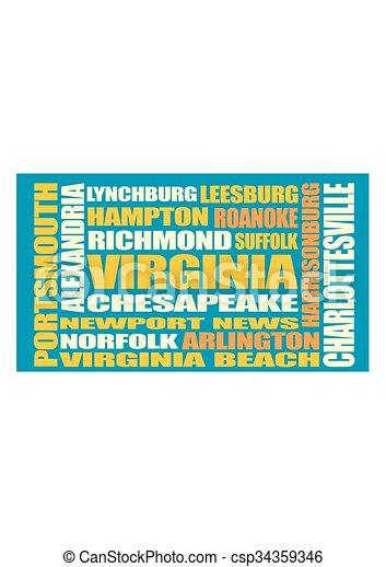 La lista de ciudades del estado de Virginia - csp34359346