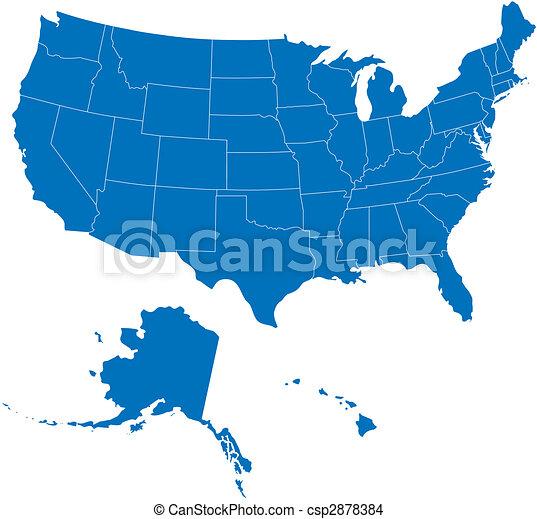 estados, azul, eua, 50, cor - csp2878384