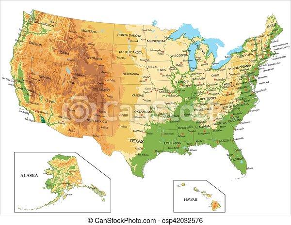Estados Unidos de América y el mapa físico - csp42032576