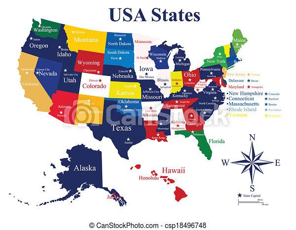 Grficos vectoriales EPS de estados mapa ciudades estados