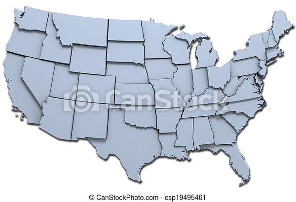 estados, mapa, nacional, américa, eua - csp19495461