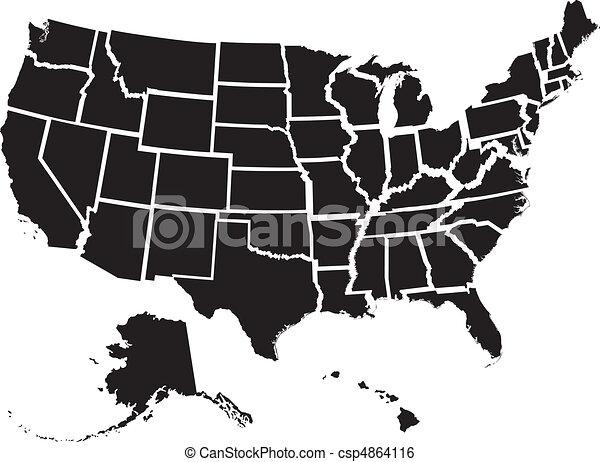 estados, mapa, unidas - csp4864116