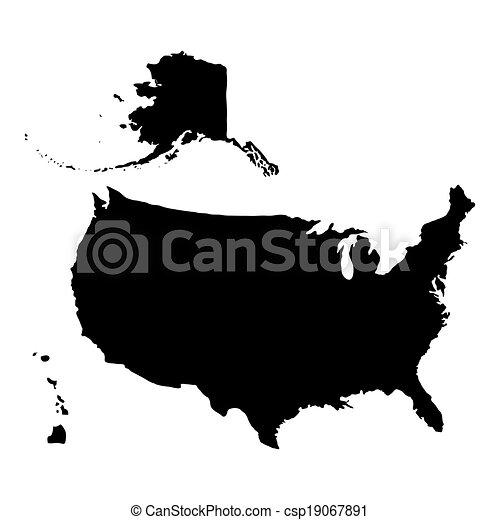 estados, mapa, unido, américa - csp19067891