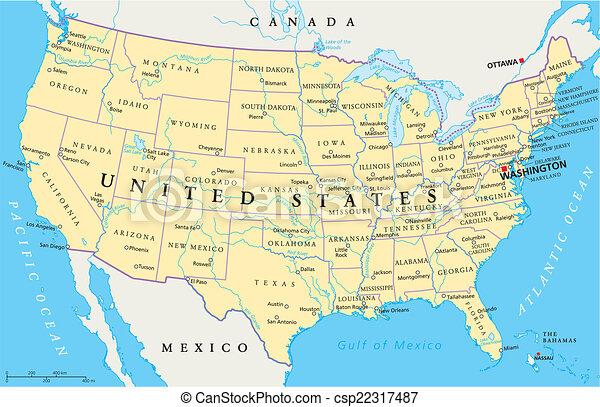 El mapa de Estados Unidos de América - csp22317487