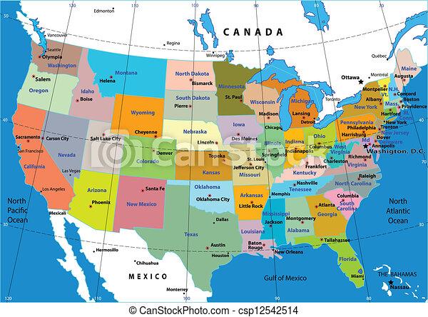 Clip art vectorial de estados mapa unido vector  Colorful USA