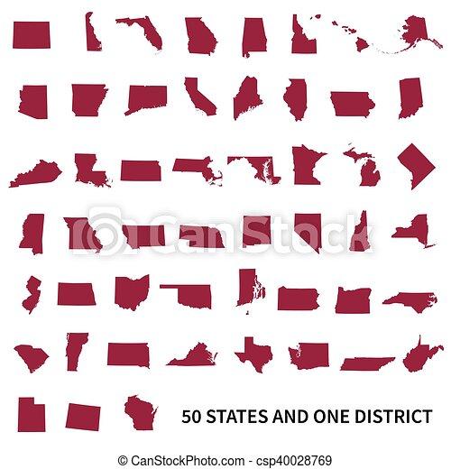 Estados Unidos de América 50 y 1 distrito federal. Listo - csp40028769
