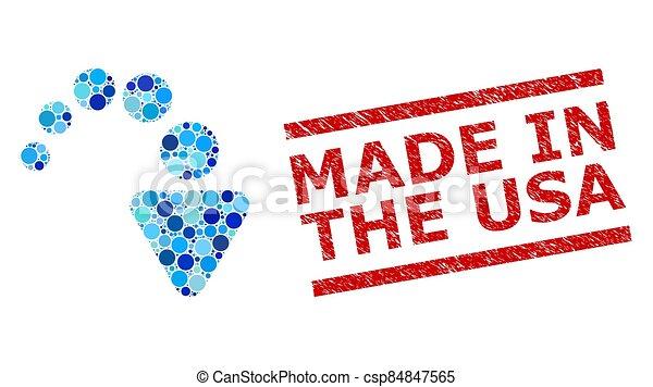 estados unidos de américa, estampilla, angustia, redondo, collage, redo, puntos, hecho, imitación - csp84847565