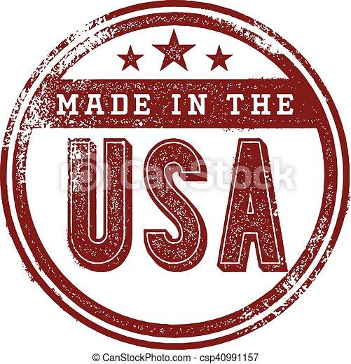 Hecho en el sello de goma de USA - csp40991157