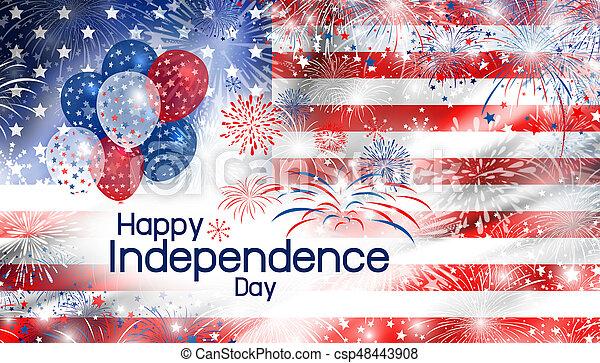 EE.UU. 4 de julio, diseño de la independencia de América bandera con fondo de fuegos artificiales - csp48443908