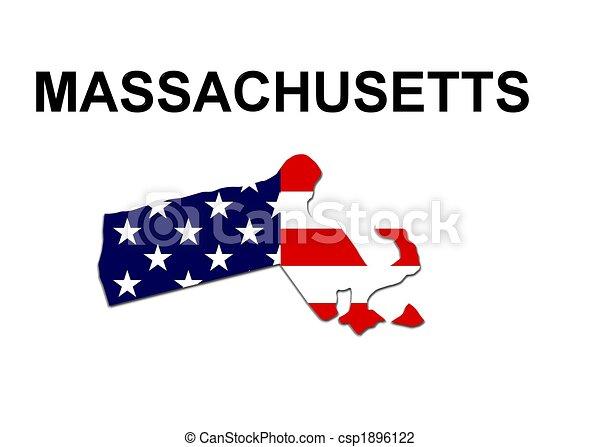 Estados Unidos de Massachusetts en diseño de estrellas y rayas - csp1896122