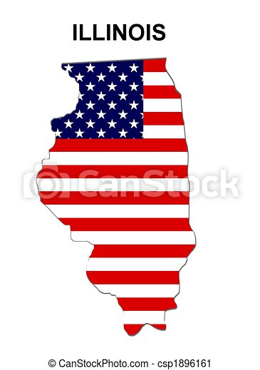 Estado de Illinois en estrellas y rayas - csp1896161
