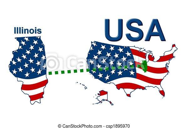 Estados Unidos de Illinois en diseño de estrellas y rayas - csp1895970