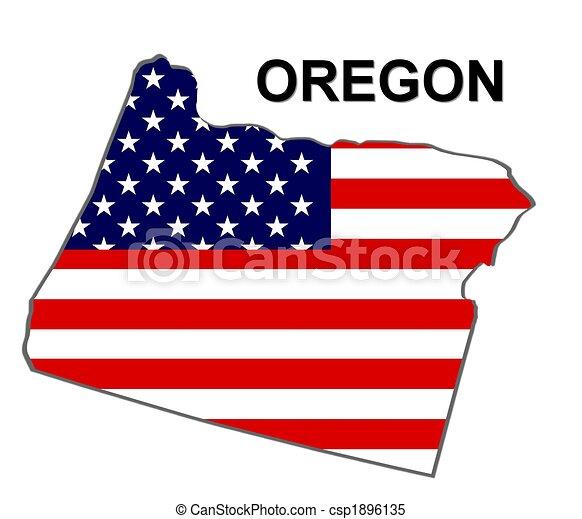 Estado de Oregón en estrellas y rayas - csp1896135