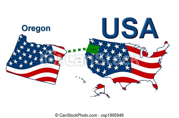 Estados Unidos de Oregón en diseño de estrellas y rayas - csp1895948