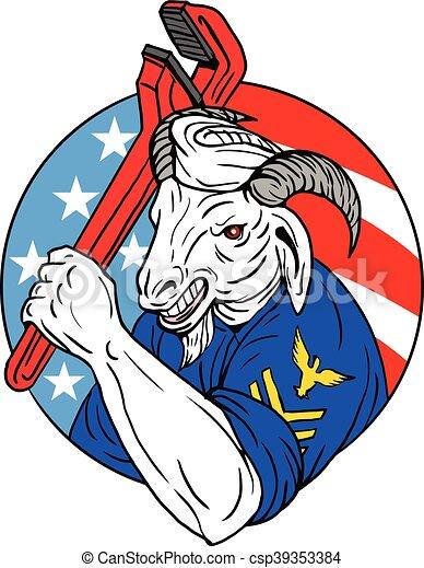 Una cabra de la Marina sosteniendo una llave inglesa de EE.UU. en un círculo retro - csp39353384