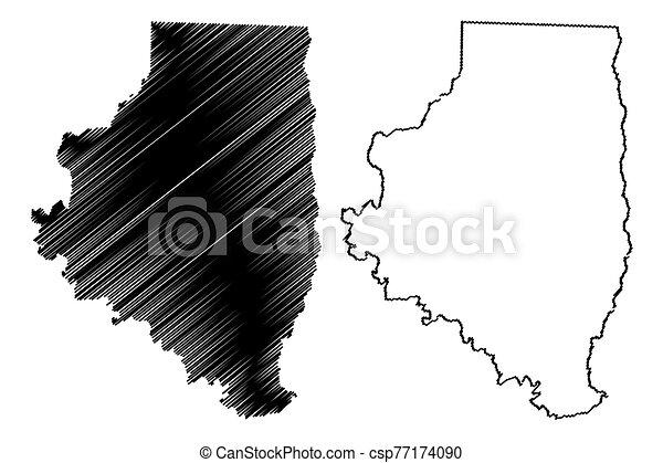estados unidos de américa, u..s.., arkansas, estados, ilustración, garabato, unido, (u.s., calhoun, vector, américa, bosquejo, condado, mapa, us) - csp77174090