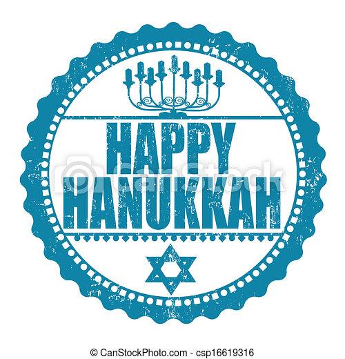 Feliz sello de Hanukkah - csp16619316