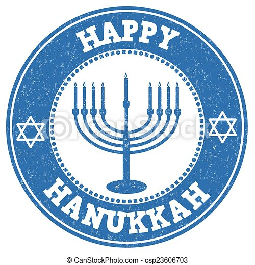 Feliz sello Hanukkah - csp23606703