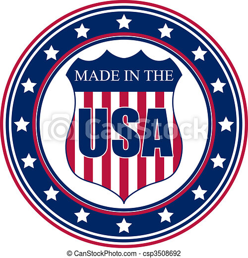 Hecho en el sello de EEUU - csp3508692