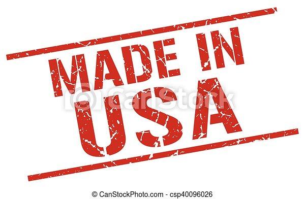 Hecho en sello americano - csp40096026