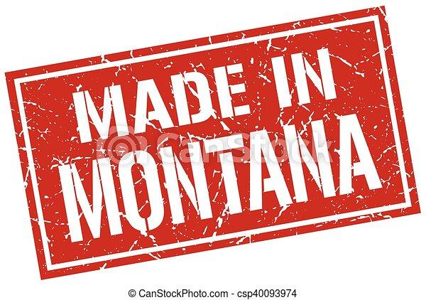 Hecho en Montana Stamp - csp40093974