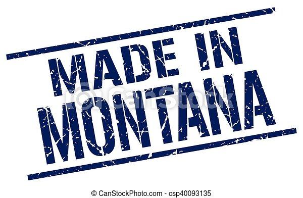 Hecho en Montana Stamp - csp40093135