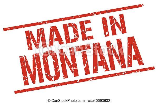 Hecho en Montana Stamp - csp40093632