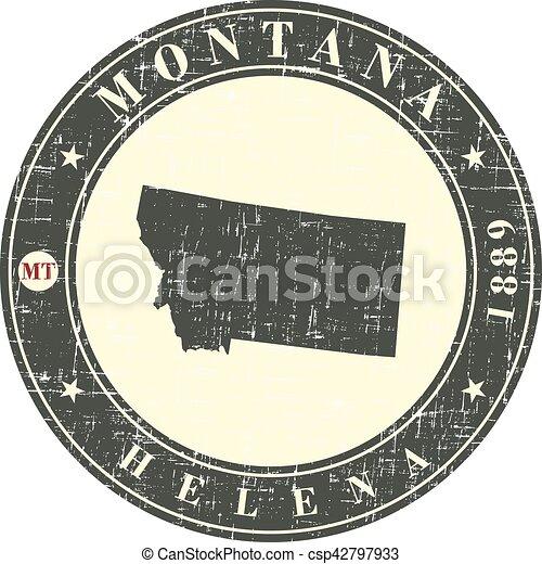 Un sello antiguo con un mapa de Montana - csp42797933