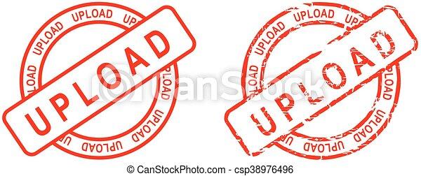 Sube la palabra sello rojo - csp38976496