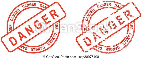 Palabra de peligro rojo sello - csp38976498