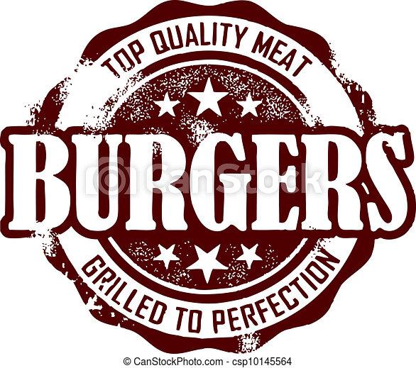 Un sello de menú de hamburguesas de estilo antiguo - csp10145564