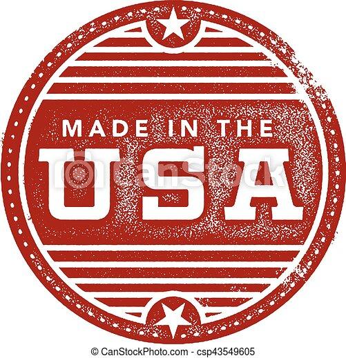 Vintage hecho en el sello de USA - csp43549605