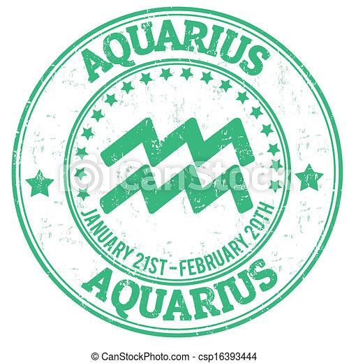 Aquarius zodiac grunge sello - csp16393444